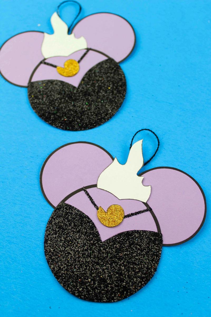 Free Printable Little Mermaid Ursula Ornament Craft #Ursula #LittleMermaid #Disney #DisneyOrnament #DisneyVillain #FreePrintable #DisneyCraft #DisneyOrnament