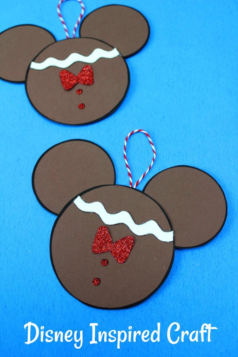 Gingerbread Mickey Ornament Craft #DisneyChristmas #Disney #MickeyMouse