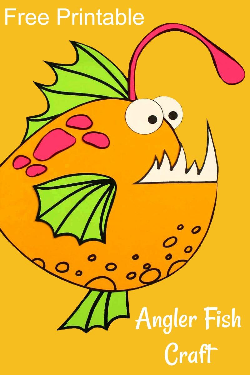 Free Printable Angler Fish Craft #FreePrintable #AnglerFish #FishCraft #UnderTheSea #UnderTheSeaParty