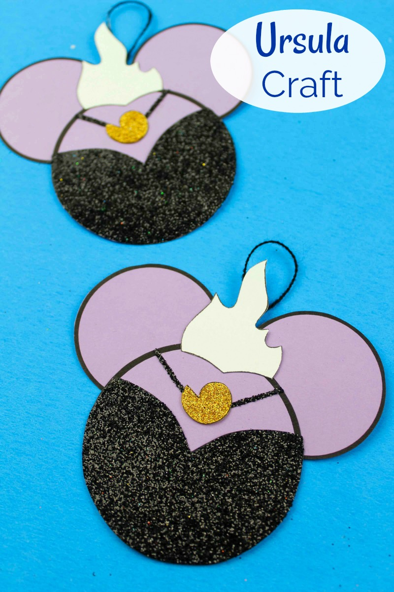 Little Mermaid Ursula Ornament Craft #Ursula #LittleMermaid #Disney #DisneyOrnament #DisneyVillain #FreePrintable #DisneyCraft #DisneyOrnament