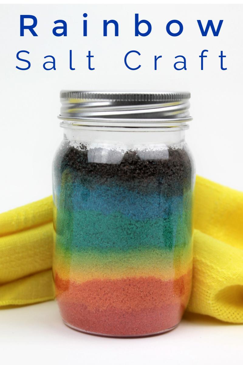 Mason Jar Rainbow Salt Craft #Rainbow #RainbowCraft #RainbowCrafts #RainbowPride