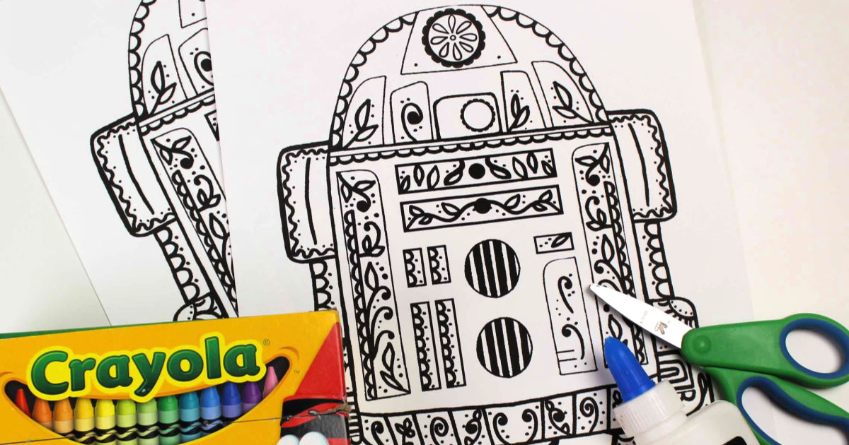 feature r2-d2 sugar skull coloring page