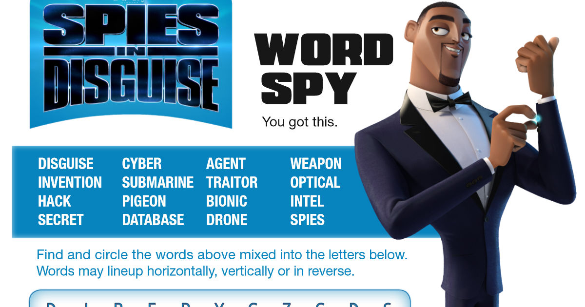 feature spies in disguise word search