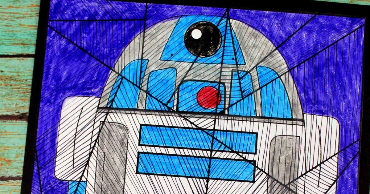 feature star wars r2d2 line art craft