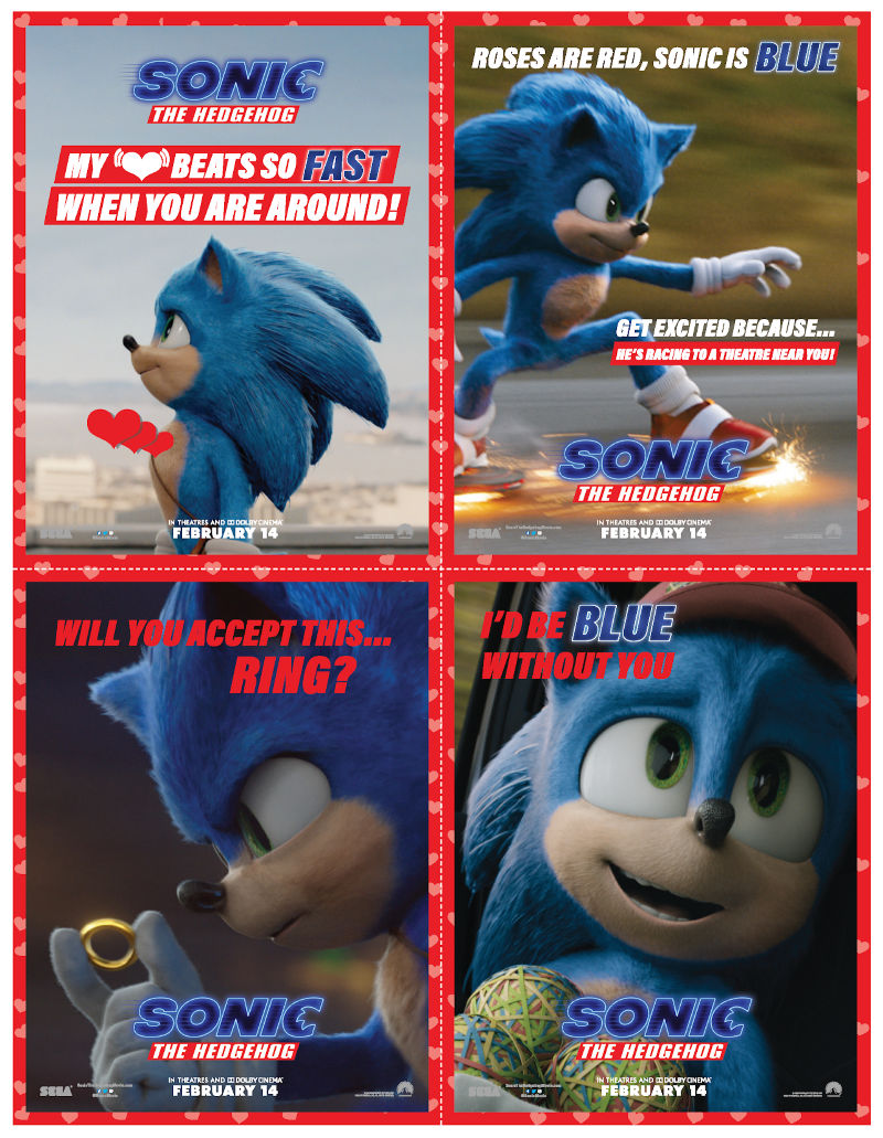 Free Printable Sonic the Hedgehog Valentines Day Cards