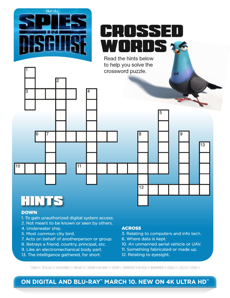 ad: Free Printable Spies in Disguise Crossword Puzzle