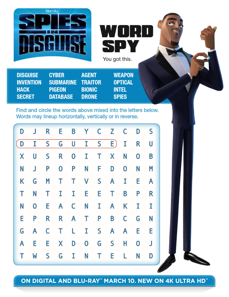 (ad) Free Printable Spies in Disguise Word Search