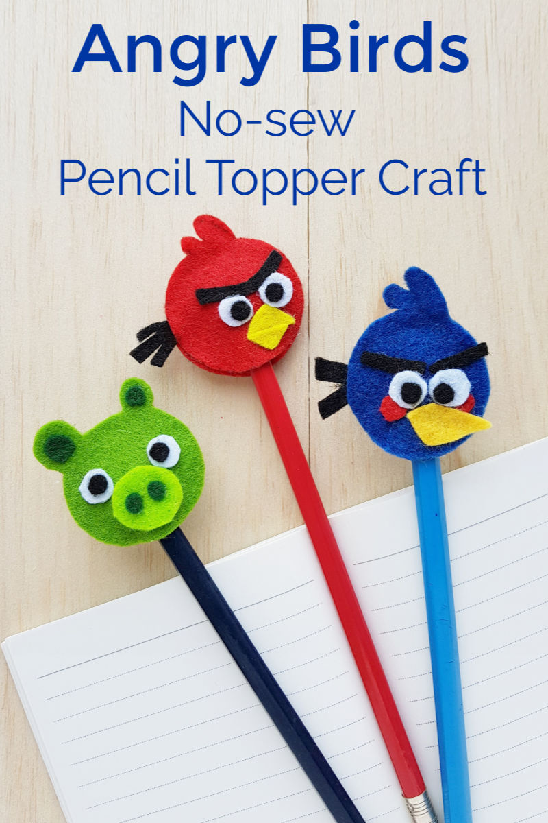 Angry Birds Felt Pencil Toppers Craft with free printable template #AngryBirds #AngryBirdsMovie #AngryBirdsCraft #AngryBirdsCrafts #FeltCrafts