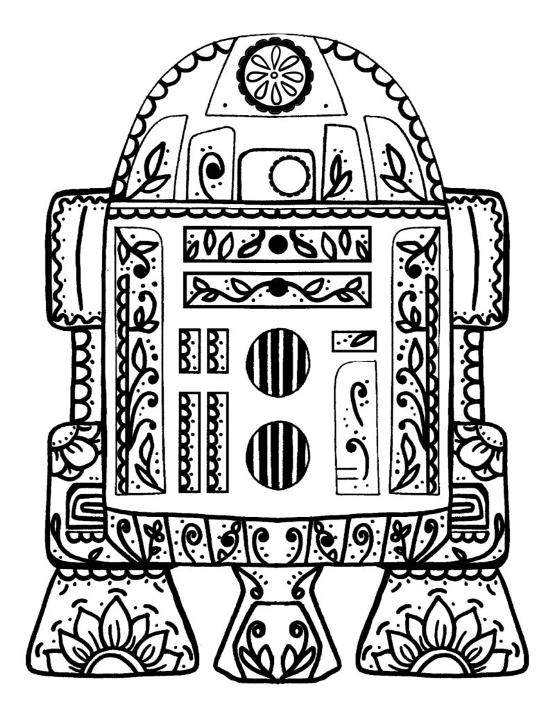 pin free printable r2-d2 sugar skull coloring page