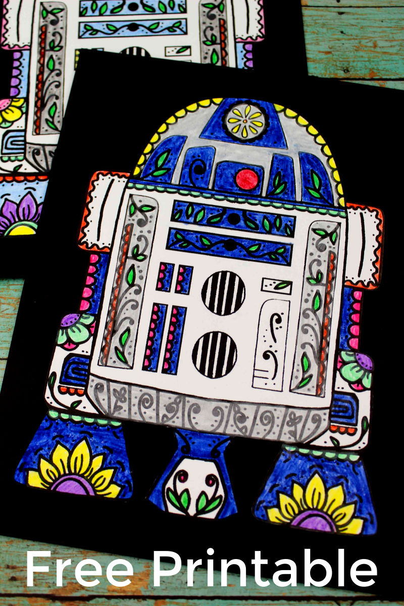pin r2d2 day of the dead coloring page