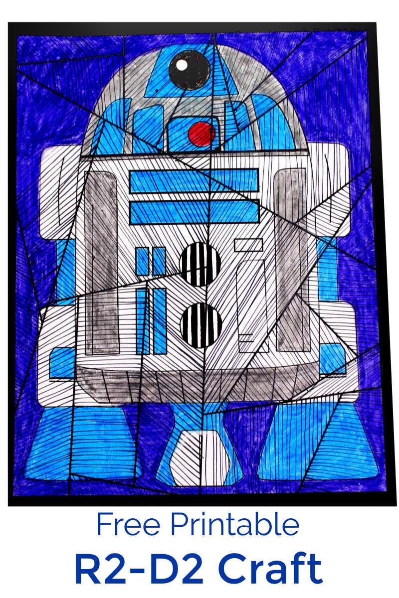 Star Wars Inspired R2-D2 Line Art Craft #StarWars #StarWarsCrafts #StarWarsCraft #R2D2 #R2D2Craft #DisneyCraft
