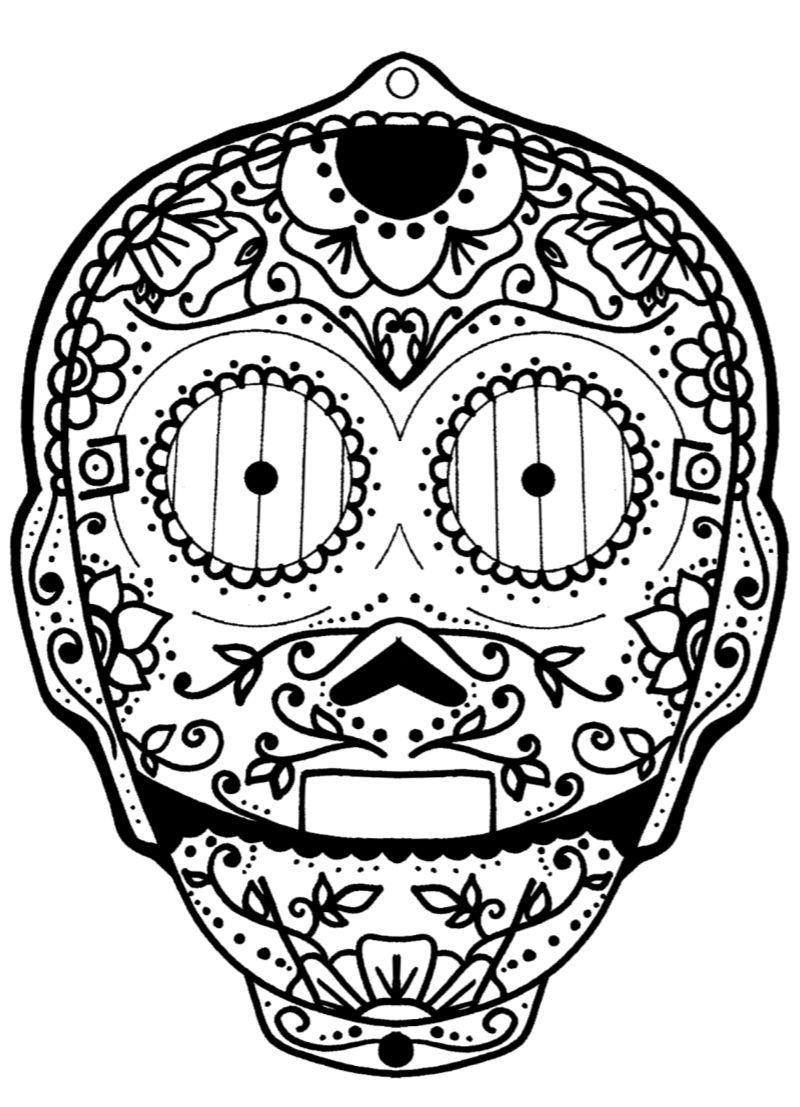 pin star wars c3po sugar skull coloring page