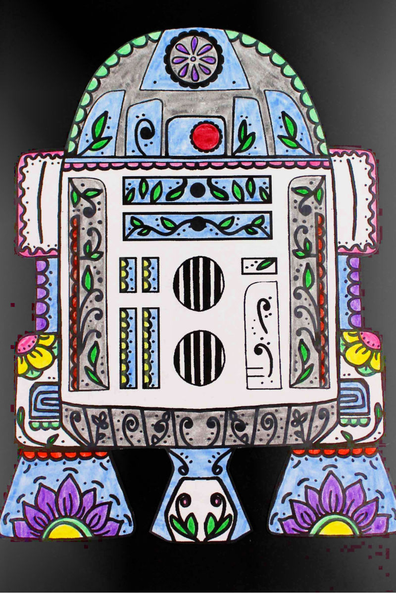 pin star wars r2d2 sugar skull coloring page