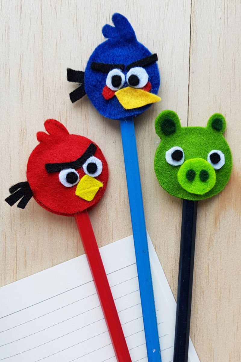 pin three angry birds pencil toppers
