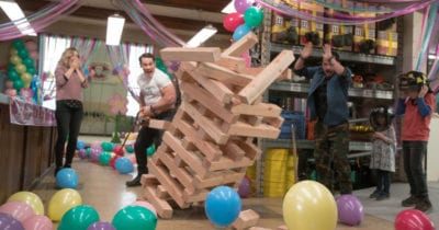 playing giant jenga at party