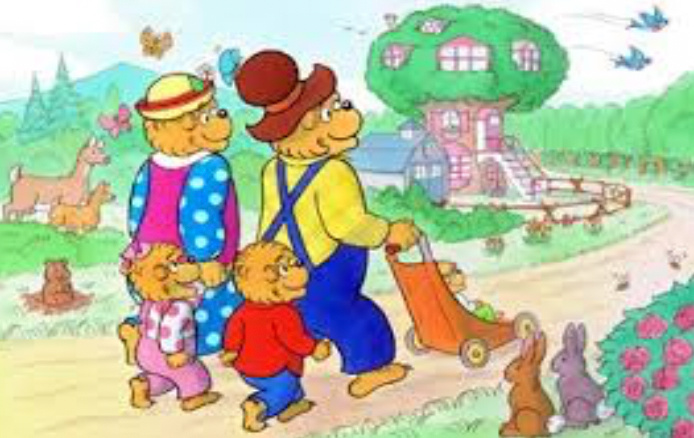 the berenstain bears walking to tree house