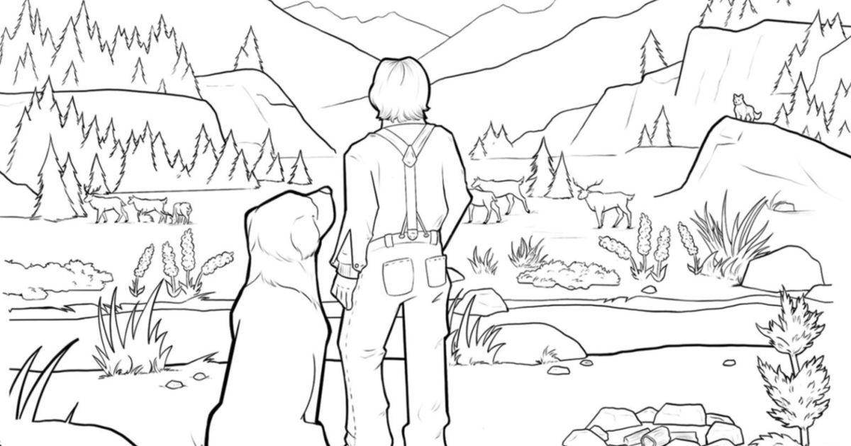 feature call of the wild coloring page