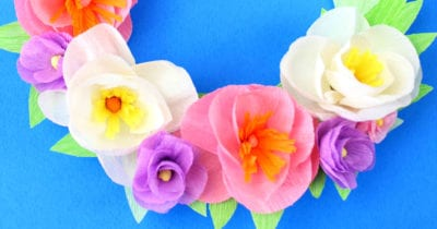 feature crepe paper flower wreath