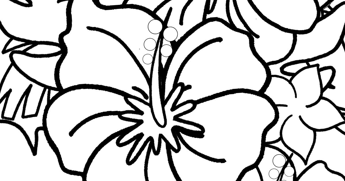 feature hibiscus coloring page