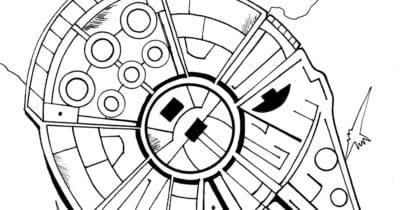 feature millennium falcon coloring page