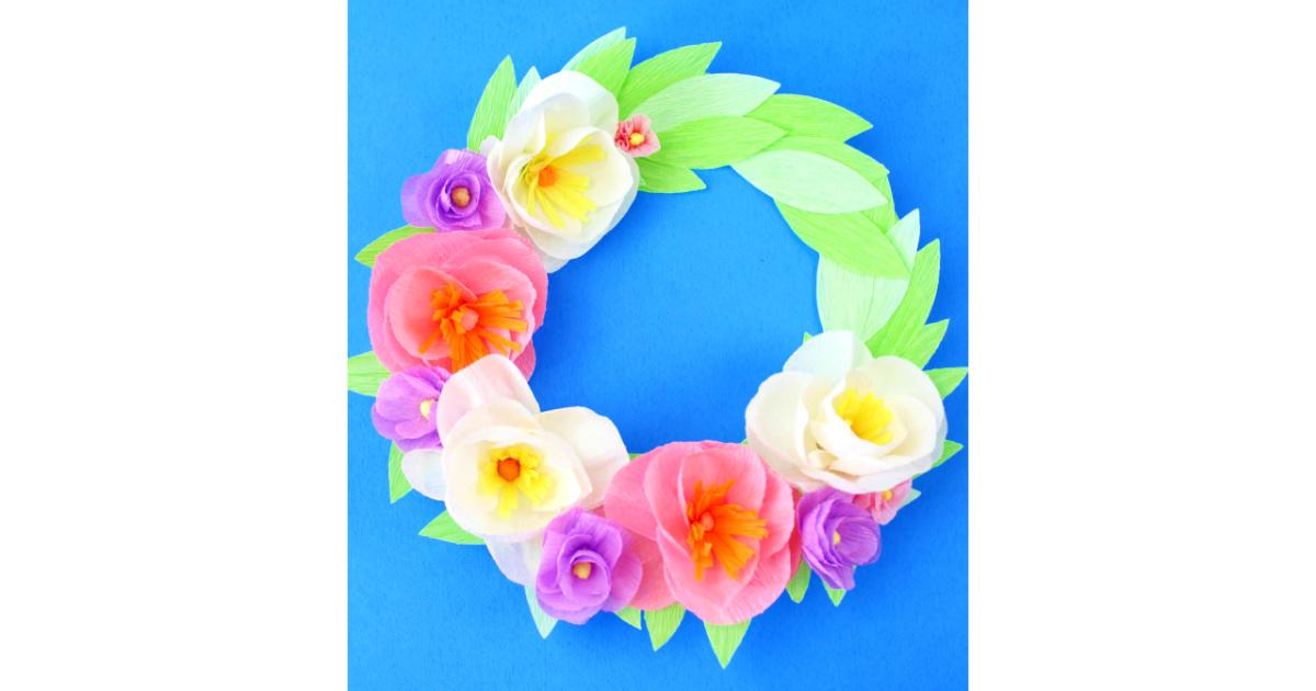 feature spring flower wreath