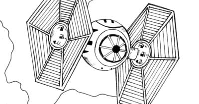 feature tie fighter coloring page