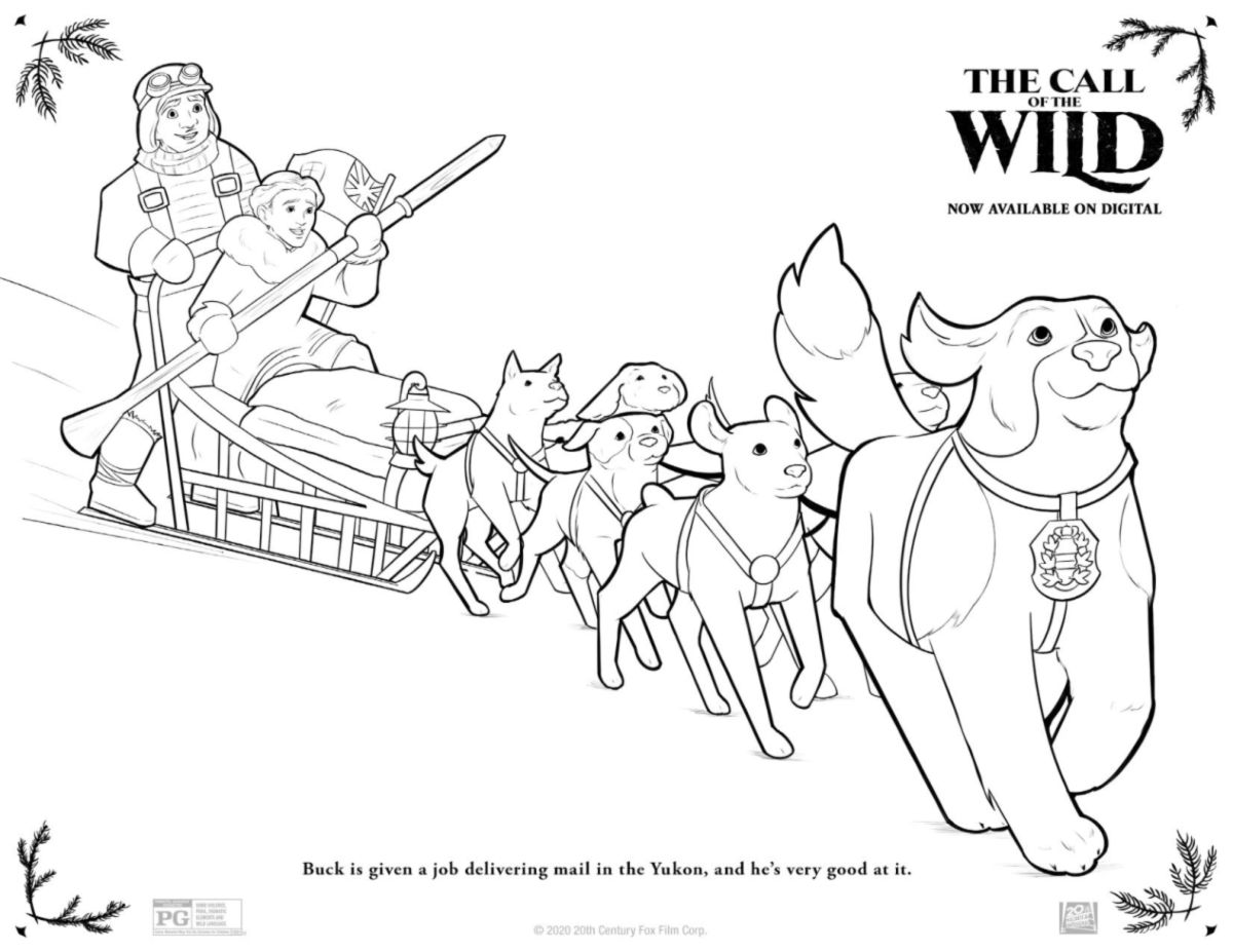full dog sled coloring page
