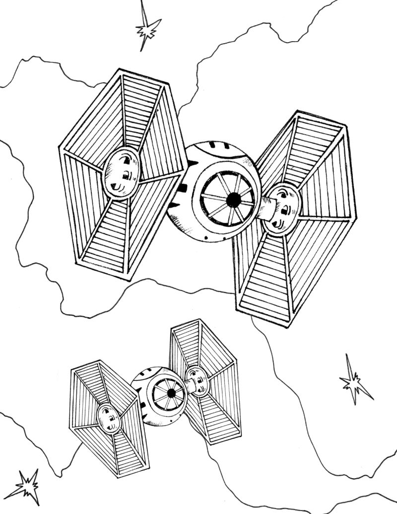 full size tie fighter coloring page
