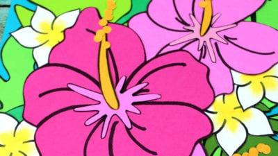 close up hibiscus craft