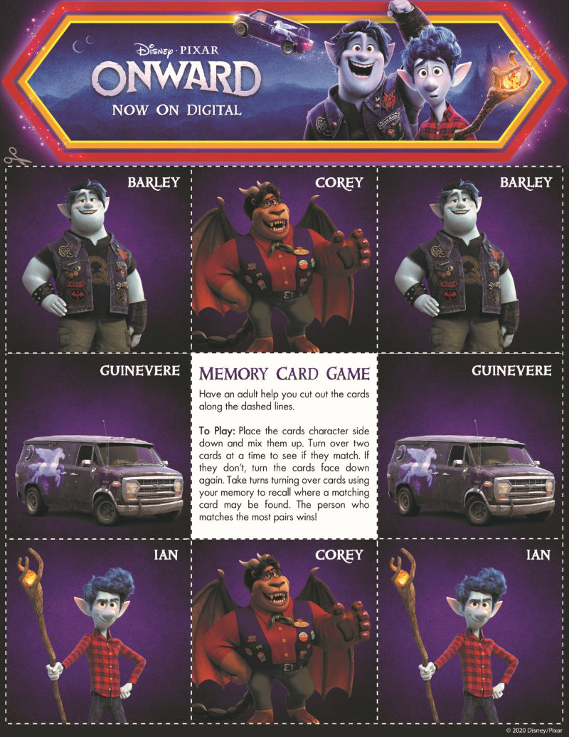 page 1 onward memory game
