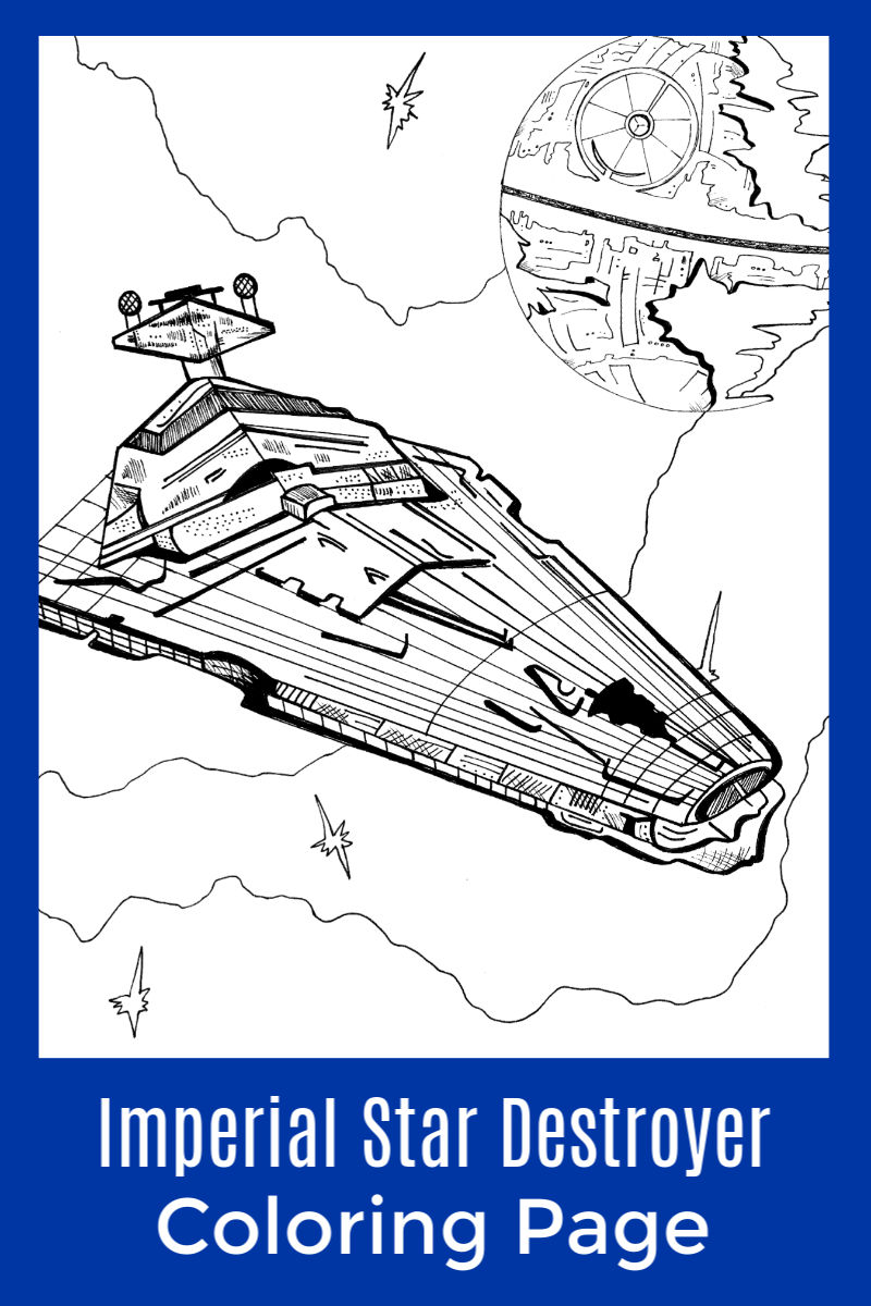 Free Printable Imperial Star Destroyer Coloring Page #StarWars #StarWarsColoringPage #StarDestroyer #ImperialStarDestroyer #FreePrintable