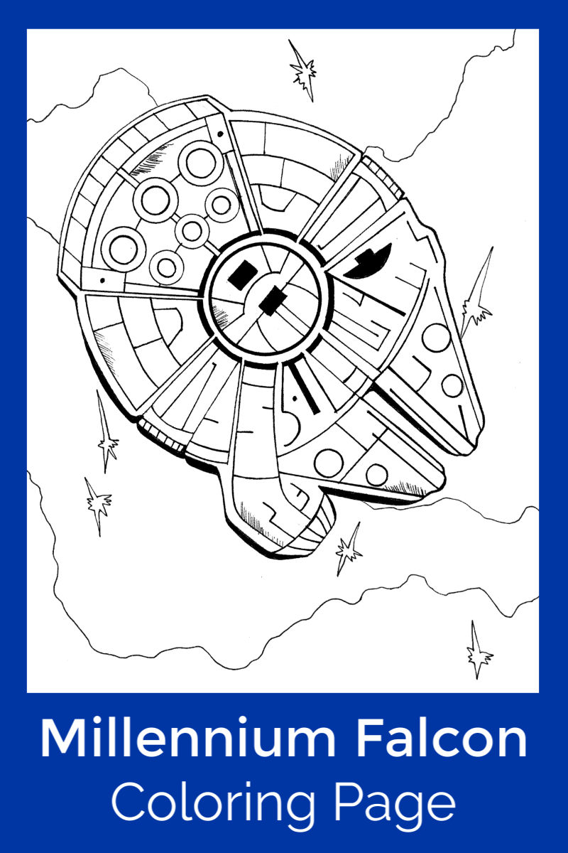 Free Printable Millennium Falcon Coloring Page #MillenniumFalcon #StarWars #StarWarsColoringPage