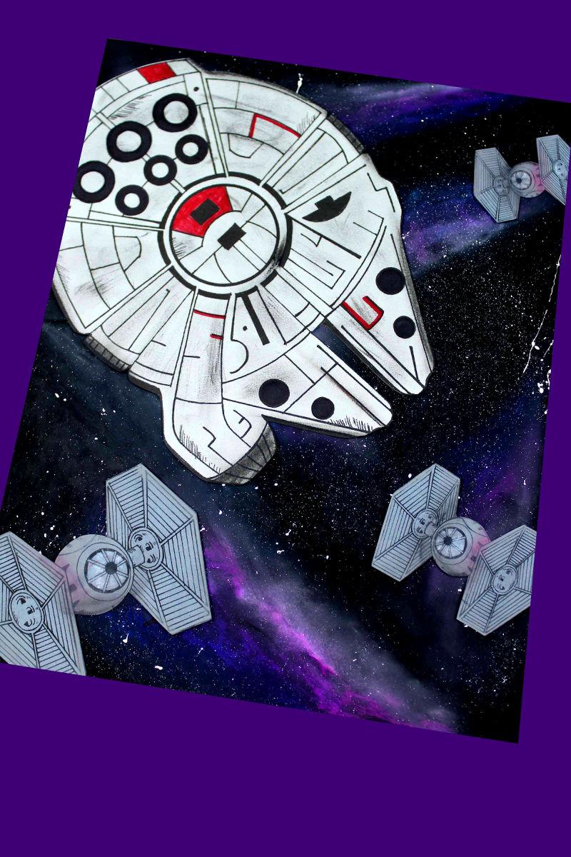 Star Wars Millennium Falcon Galaxy Craft #MillenniumFalcon #MillenniumFalconCraft #StarWars #StarWarsCraft #DisneyCraft