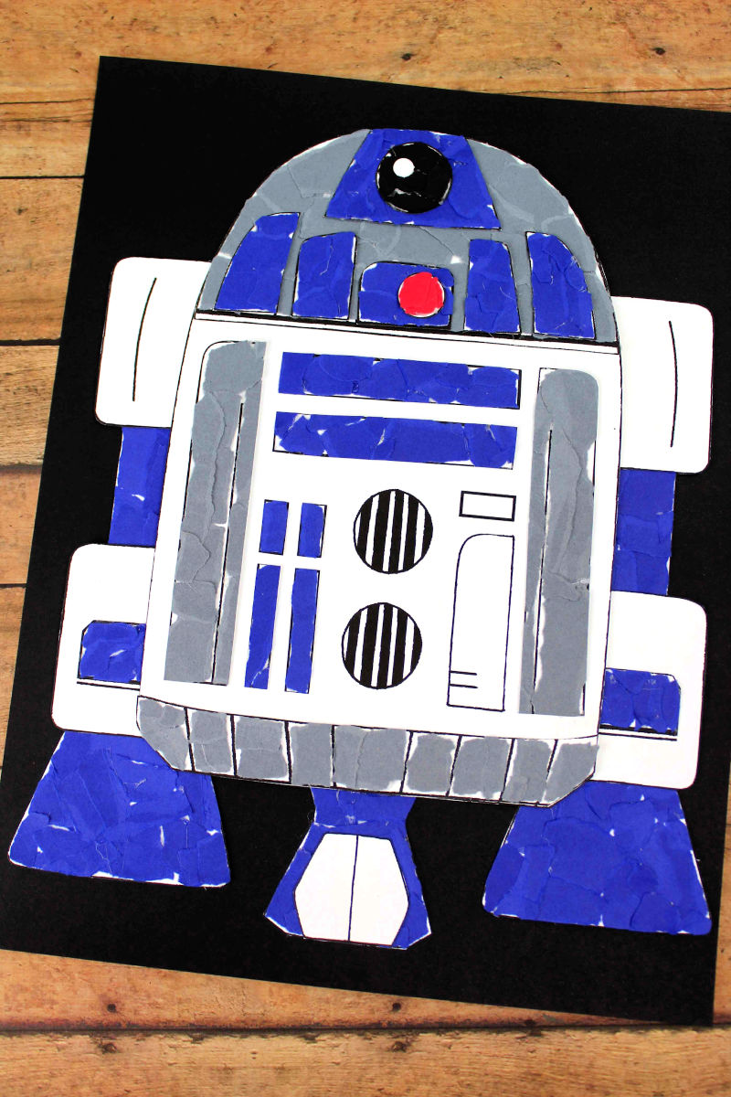 Star Wars Inspired R2D2 Torn Paper Craft #StarWarsCraft #DisneyCraft #R2D2Craft #TornPaperCraft