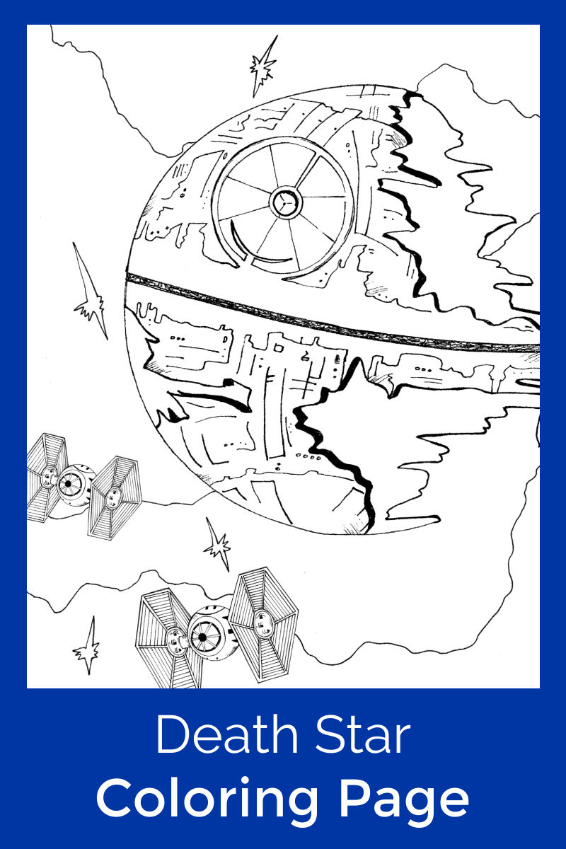 Free Printable Star Wars Death Star Coloring Page #StarWars #DeathStar #FreePrintable #ColoringPage