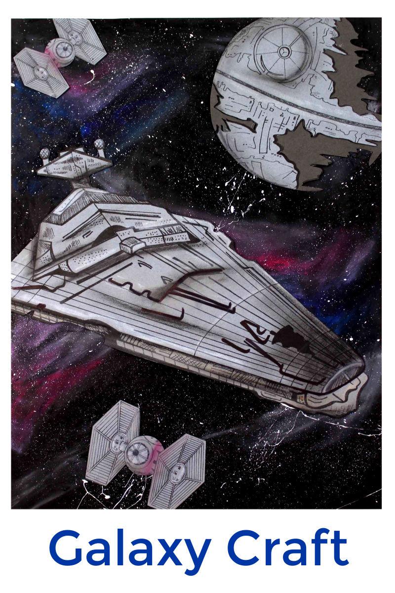 Star Wars Star Destroyer Galaxy Craft with Free Printable Template #StarWarsCraft #StarDestroyer #StarDestroyerCraft #GalaxyCraft