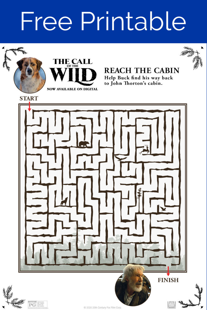 Free Printable Call of The Wild Maze #Callofthewild #TheCallofthewild #freeprintable #printablemaze