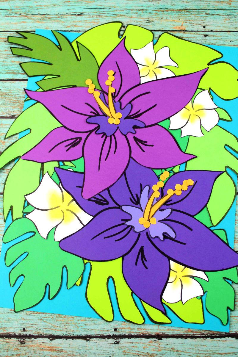 Free Printable Hawaiian Lily Tropical Flower Craft #FlowerCraft #TropicalFlowerCraft #PaperFlowers #HawaiianFlowerCraft #PaperFlowerCraft