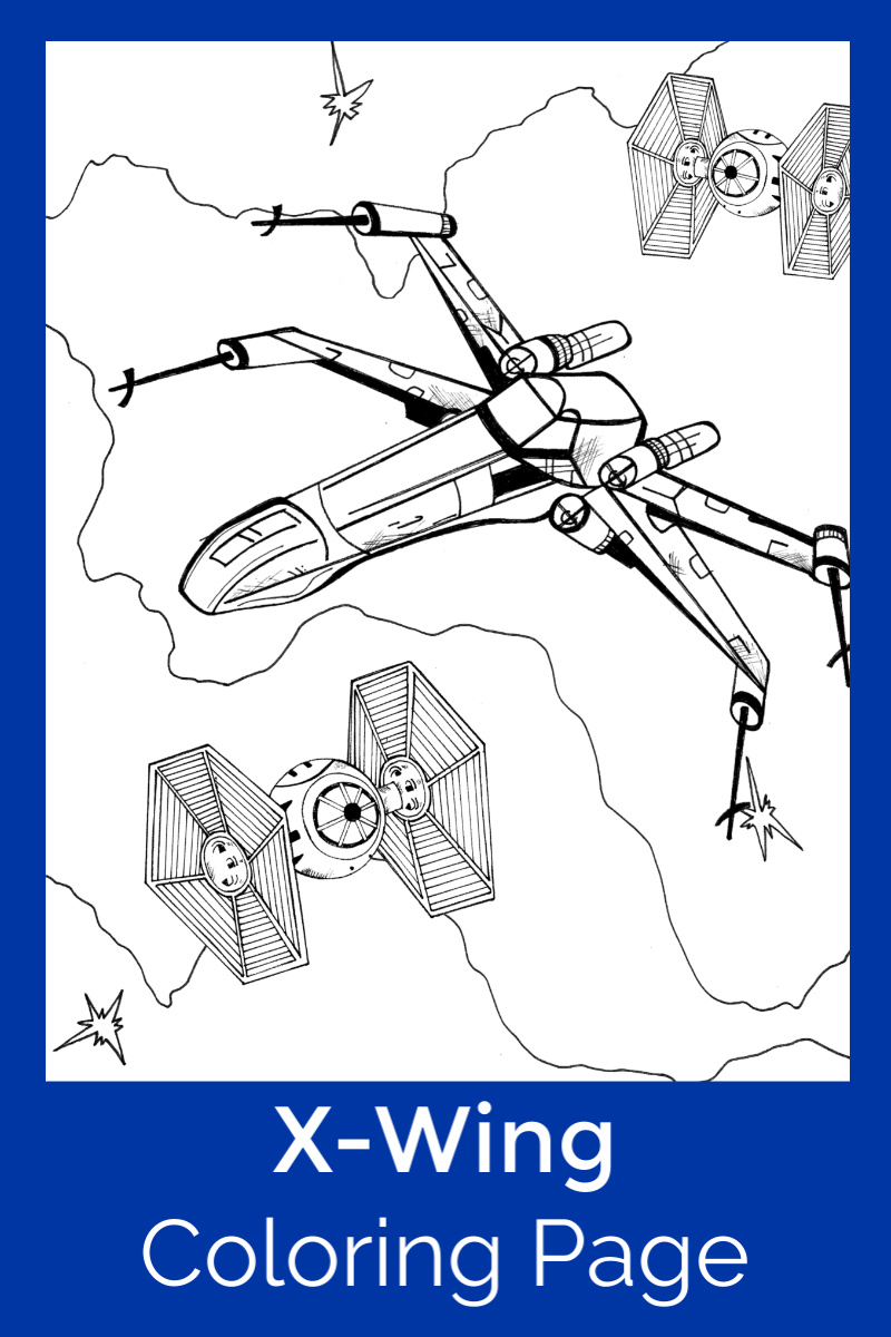 Rebel Alliance X-Wing Starfighter Coloring Page #FreePrintable #StarWars #StarWarsColoringPage #StarWarsPrintable