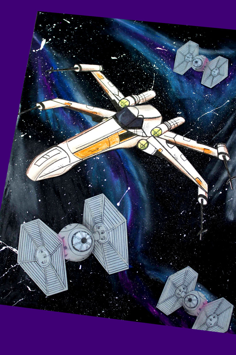 Star Wars inspired X-Wing Galaxy Craft with free printable template #StarWars #StarWarsCraft #XWing #XWingCraft #X-Wing #X-WingCraft