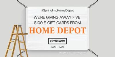 savings Home Depot giveaway