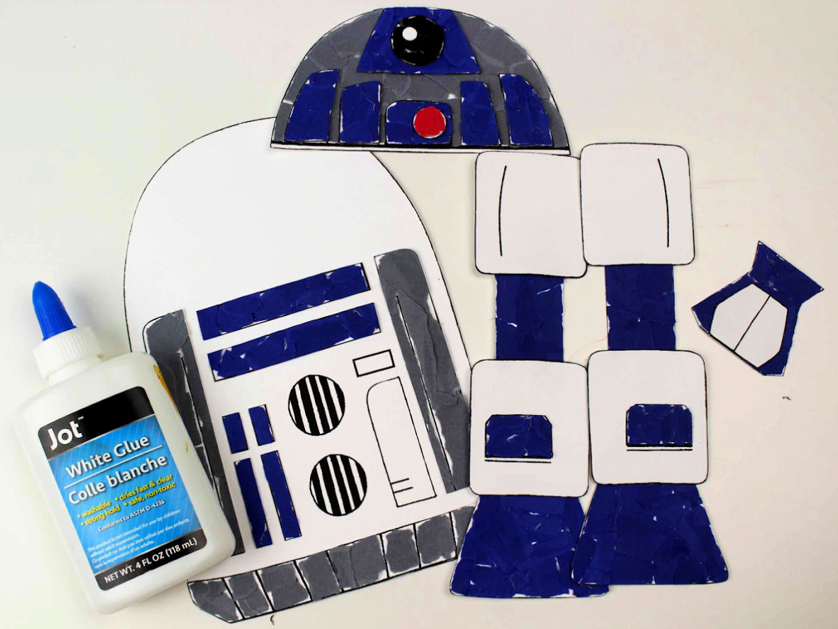 torn paper r2d2 craft parts