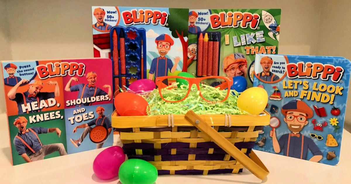 easter basket with blippi books