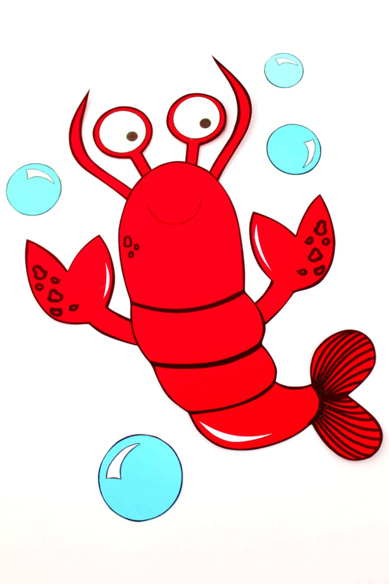 Paper Lobster Craft with Free Printable Template #LobsterCraft #FreePrintable #PaperCraft