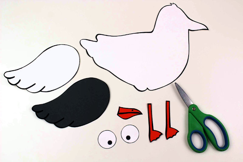 pieces for seagull paper craft