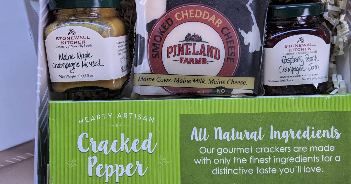 crackers cheese mustard and jam