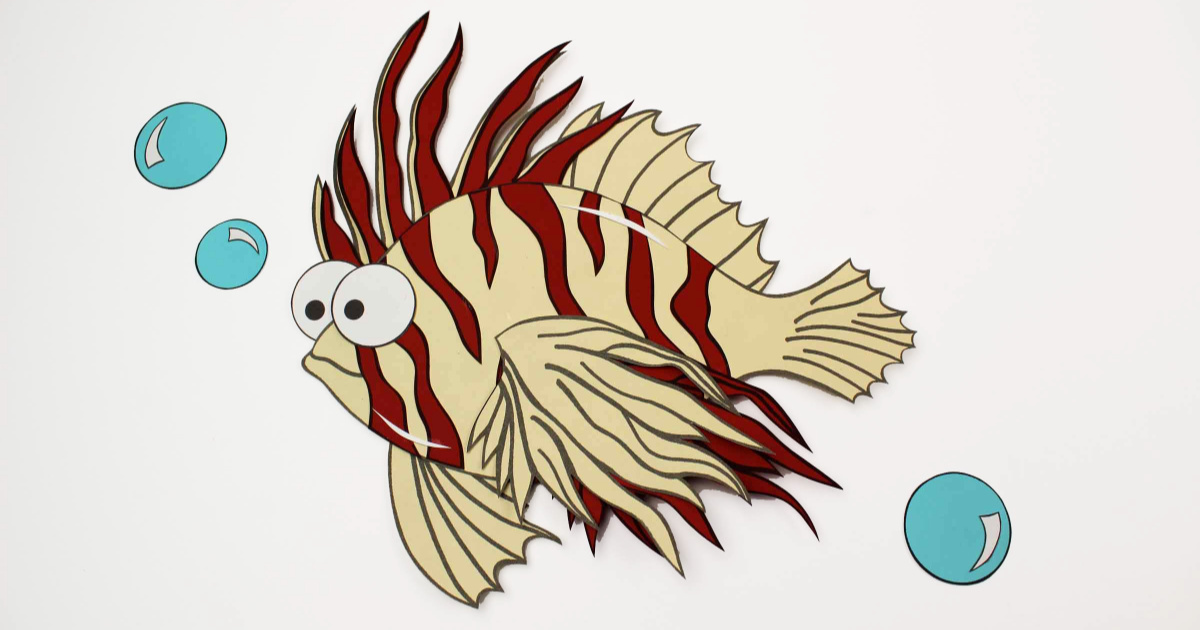 feature lionfish craft with bubbles