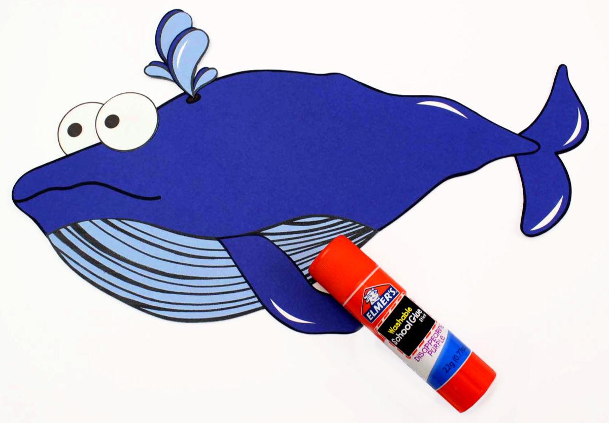 glue paper blue whale craft