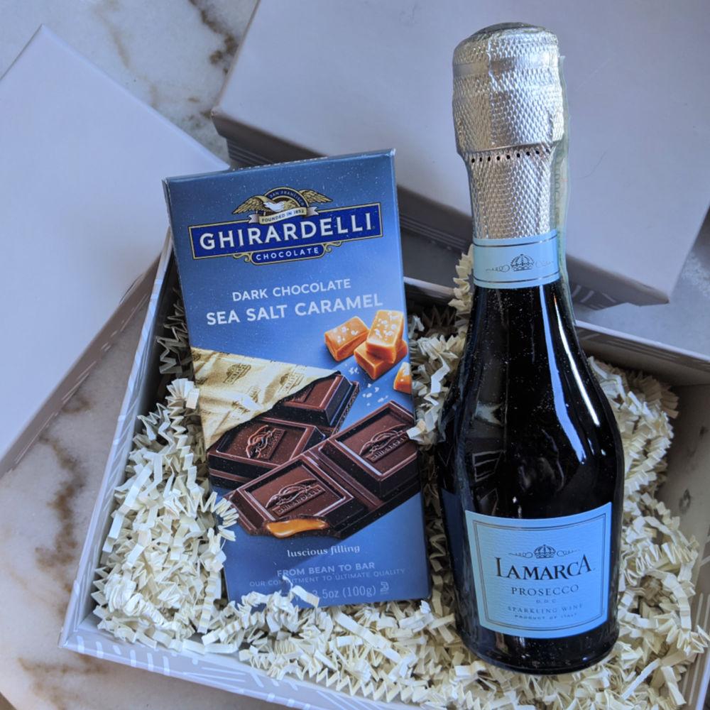 lamarca prosecco and ghirardelli chocolate