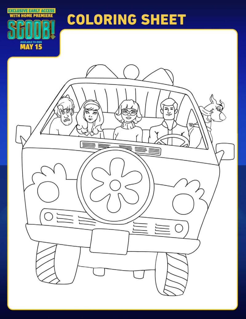 Free Printable Scooby Doo Mystery Machine Coloring Page #Scoob #ScoobyDoo #MysteryMachine